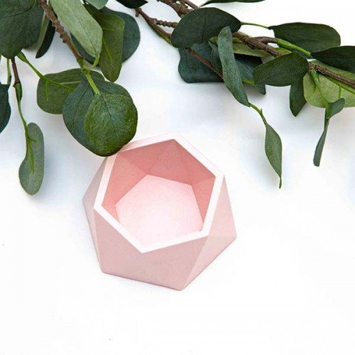 Саксия за сукуленти от бетон, ръчно изработена в бледо розово 'Atomo'