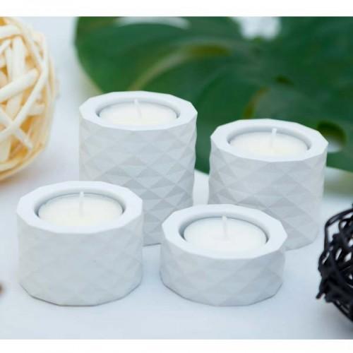 Комплект от 4 свещника от бетон в бяло /ръчно изработени/ 'Atomo'