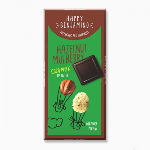 Фин млечен /веган, био/ шоколад с бели черници и лешници 'Happy Benjamino'