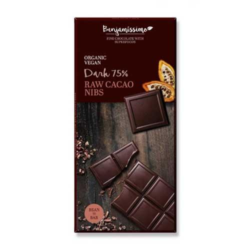 Фин черен шоколад 75% със сурови какаови зърна /веган/ БИО 'Benjamissimo', 70g
