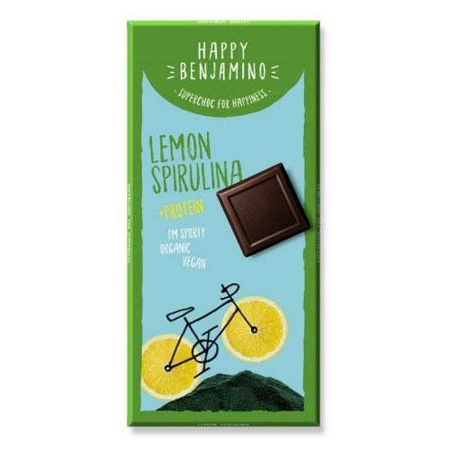 Фин черен шоколад с лимон, спирулина и 2 вида протеин БИО 'Happy Benjamino', 70 гр.