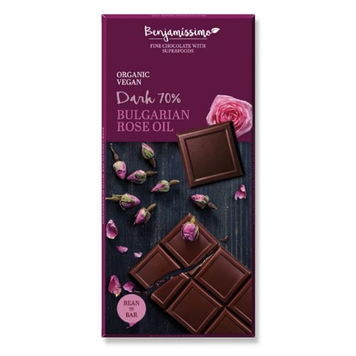 Фин черен шоколад 70% с розово масло БИО 'Benjamissimo', 70 гр.