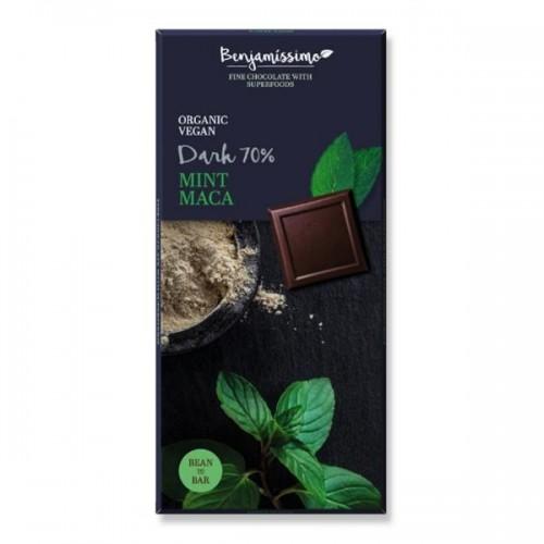 Фин черен шоколад 70% с ментово масло и мака БИО 'Benjamissimo', 70 гр.