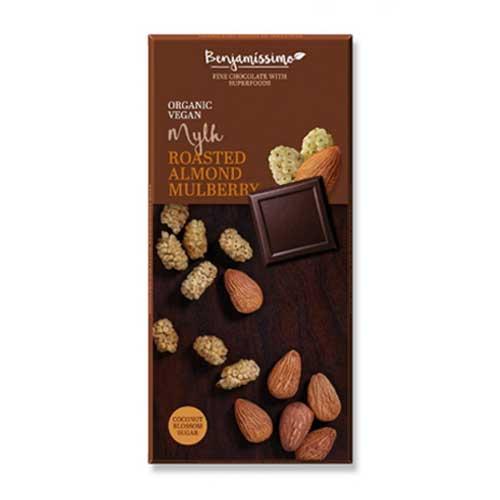 Фин млечен шоколад с печени бадеми, сушена бяла черница и кокосов крем /веган, био/ 'Benjamissimo'