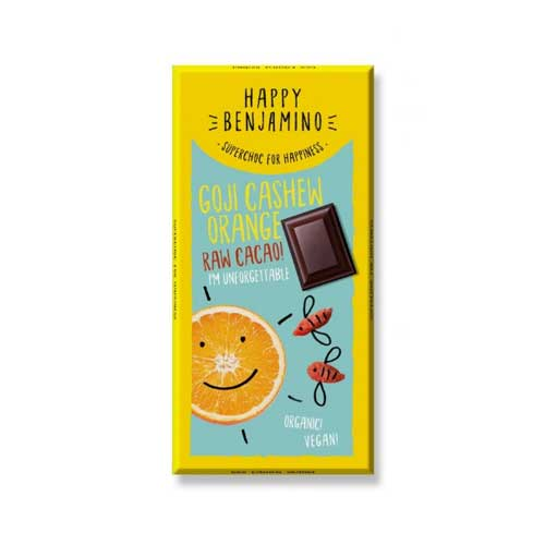 Фин черен шоколад от сурово какао, кашу и портокал БИО 'Happy Benjamino'