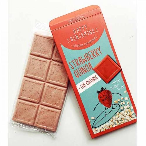 Фин бял /веган/ шоколад с ягоди, пукана киноа и пробиотици БИО 'Benjamissimo'