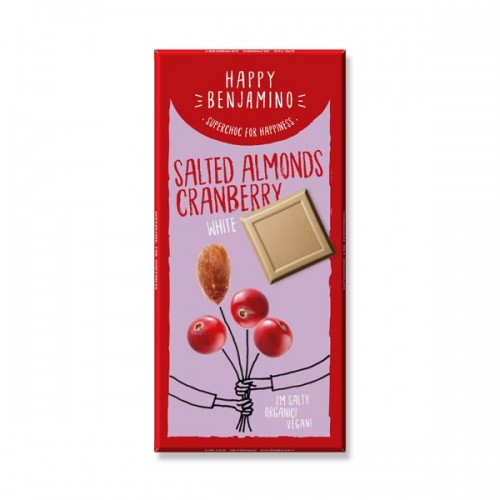 Фин бял /веган/ шоколад със солен бадем и червена боровинка БИО 'Happy Benjamino'