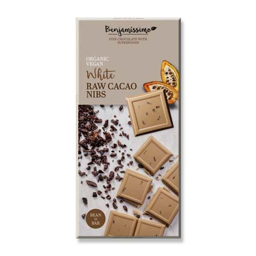 Фин бял /веган/ шоколад със сурови какаови парченца, кокосов крем и бадемов протеин БИО 'Benjamissimo'