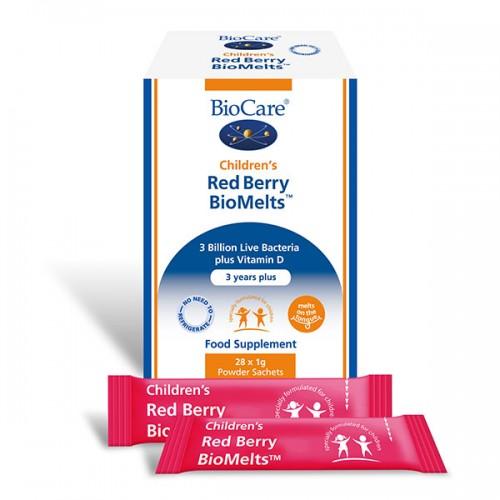 Детски пробиотик + витамин D БиоМелтс с ягода и малина 'BioCare',  28 сашета