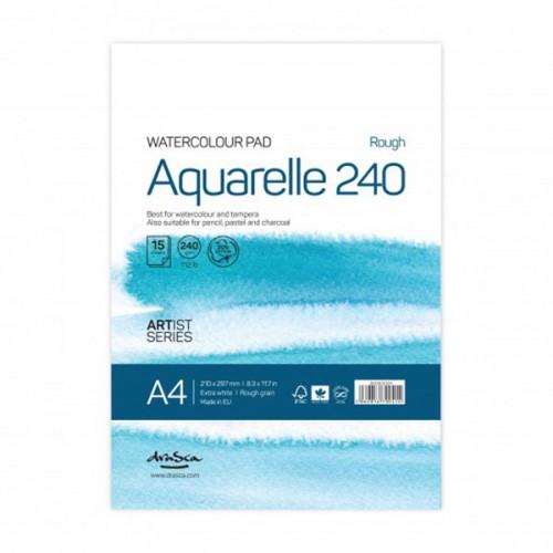Скицник за водни бои 'Aquarelle Rough 240' A4 с 15 листа бял картон /acid free/ 240 г, Drasca