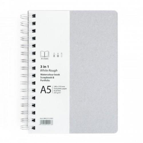 Скицник / скрапбук '3 in 1 White Rough' A5 портрет, 30л бял картон 250 g/m2 със спирала, Drasca