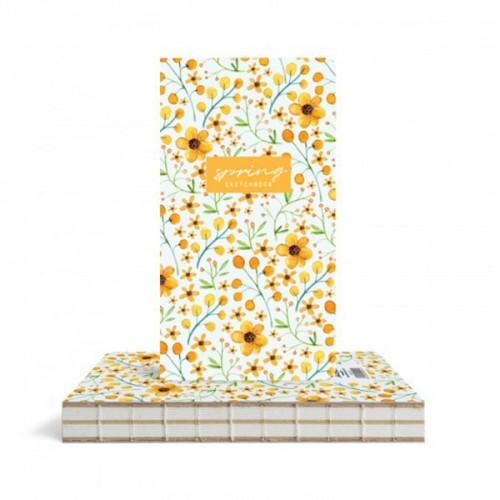 Скицник 'Spring' Жълти цветя 9.4*17.2 cm 96 листа, Drasca