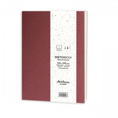 Скицник 'Natural Touch' червен 14.5*21 cm 128 листа 100 g/m2, Drasca