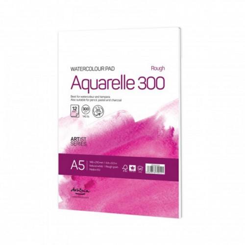 Скицник за водни бои 'Aquarelle Rough 300' A5 с 12 листа натурално бял картон /acid free/ 300 г, Drasca