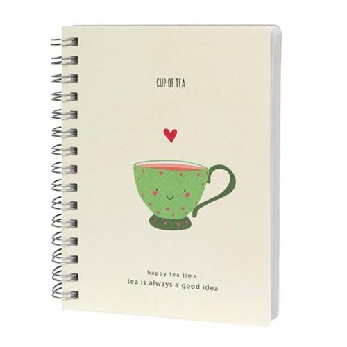 Скицник 'Happy Tea Time' / CUP OF TEA 15*20 cm 80 листа 80 g/m2 със спирала, Drasca