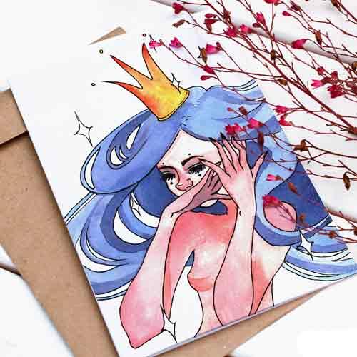 Картичка с авторска илюстрация на момиче със златна корона, GloryArt /Глория Шуглева/ + крафт плик