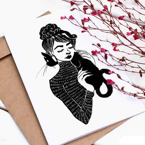Картичка с авторска илюстрация на момиче с котка, GloryArt /Глория Шуглева/ + крафт плик