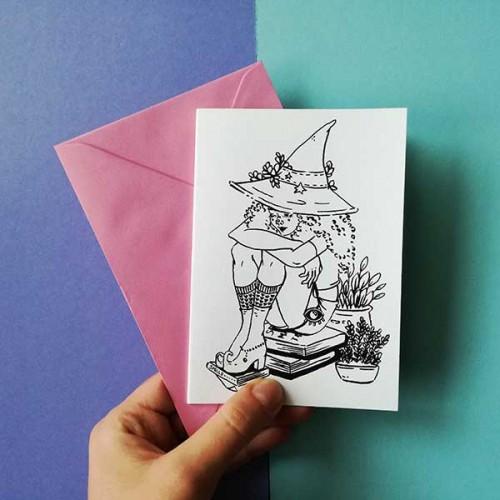 Картичка ФЕЯ с авторска илюстрация на GloryArt /Глория Шуглева/ + крафт плик