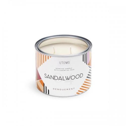 Ароматна свещ SANDALWOOD / OUTDOOR с 2 памучни фитила и етерични масла от Кедър и нотка на опушен Ветивер, I-TEMS