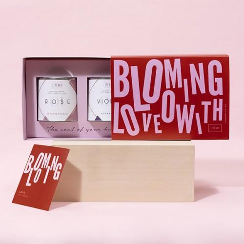Комплект от 2 ароматни свещи BLOOMING LOVE: ROSE + VIOLET в подаръчна кутия I/TEMS