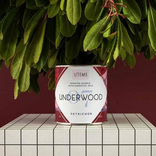 Ръчно налята свещ 06 / UNDERWOOD с етерично масло от пачули и аромат на ревен с дизайн от Розалина Буркова, I-TEMS