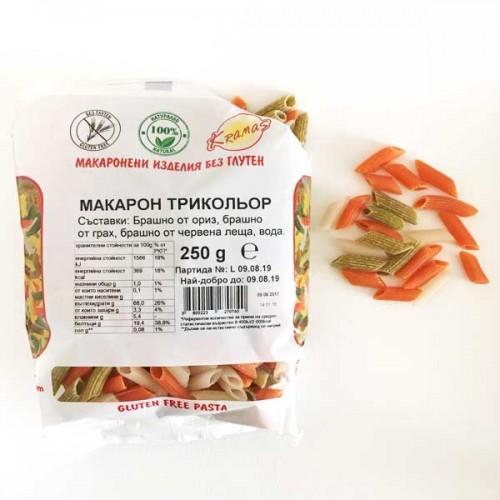 Безглутенови макарони от грах, червена леща и ориз 'Трикольор' /готови за 6-8 минути/ 'Kramas', 250 г