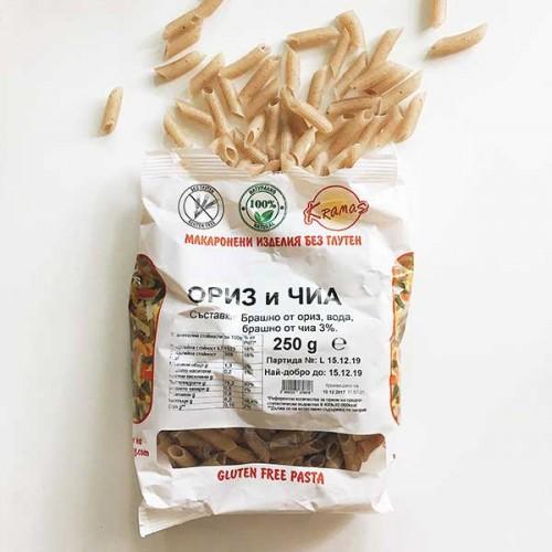Безглутенови макарони от ориз и чиа /готови за 6-8 минути/, 250 гр.