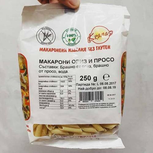 Безглутенови макарони от ориз и просо /готови за 6-8 минути/, 250г