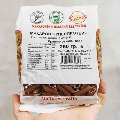 Безглутенови макарони от боб и соя 'Суперпротеин' /готови за 6-8 минути/ 'Kramas', 250 г