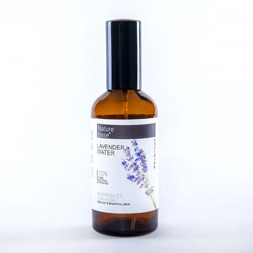 Флорална вода от лавандула /първичен дестилат, БИО/ в стъклена бутилка със спрей помпа 'NatureBase', 100 мл
