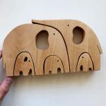 Детска дървена играчка-пъзел Слонове /от 5 части/ 'PepeWoods'