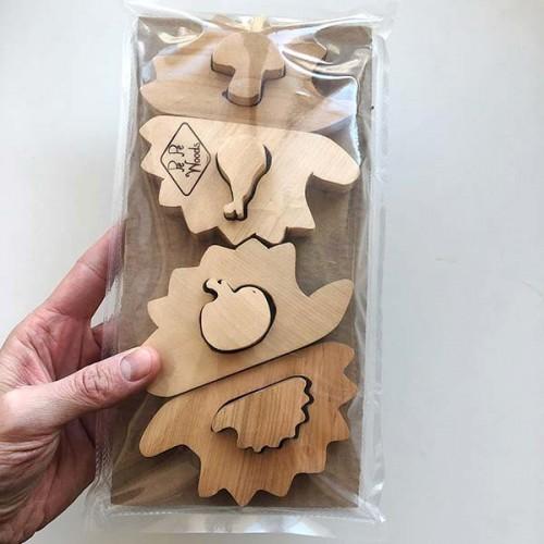 Детска дървена играчка-пъзел Таралежи /от 8 части/ 'PepeWoods'