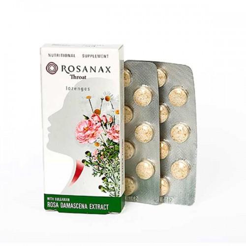 Таблетки за гърло и дихателни пътища с билкови екстракти от Роза, Лайка и Исландски лишей 'ROSANAX'