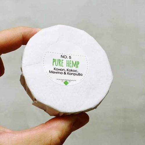 Сапун #5 PURE HEMP с коноп, мента, кокос и коприва 'SEVOA Naturals', 100g