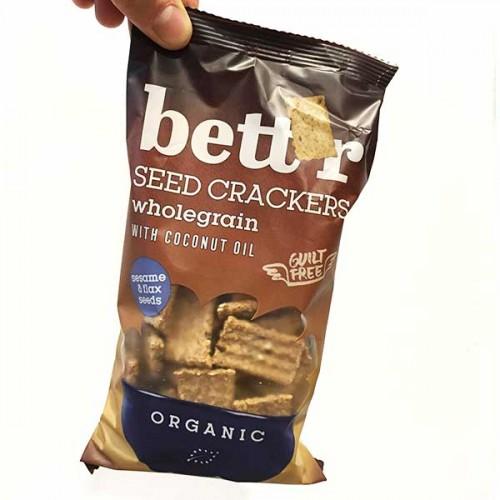 Крекери със семена - лен и сусам /пълнозърнести, БИО, веган/ Bett'r, 150 гр.