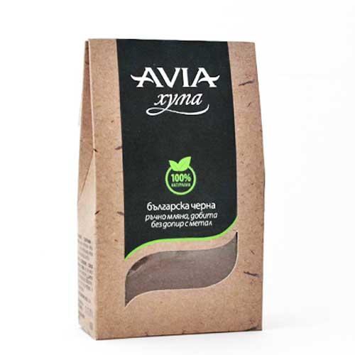 Черна хума на прах за Мазна, Акнеична и Възпалена кожа, добита ръчно без допир с метал AVIA, 250g