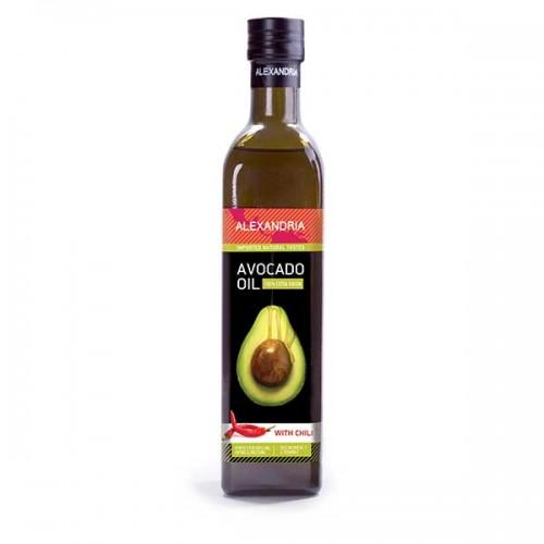 Авокадово масло с чили за готвене /кулинарно/, подходящо при пържене 'Alexandria', 500ml