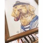 Картина с авторска илюстрация 'Куче - моряк' в дървена рамка под антирефлексно стъкло, Анелия Пашова