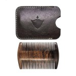 Дървен гребен за брада и мустаци /двоен/, изработен от Сандалово дърво с уникален кожен калъф 'BRADABRAT'