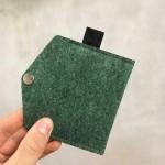 Филцово портмоне /визитник/ с копче - зелено 10х7см, DEKORA