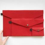 Филцови пликове в червен цвят /комплект от 3 броя/, DEKORA