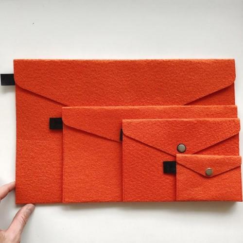Филцови пликове в оранжев цвят /комплект от 4 броя/, DEKORA