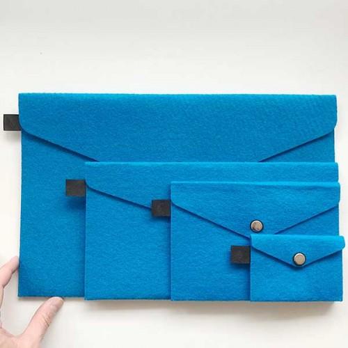 Филцови пликове в тъмно син цвят /комплект от 4 броя/, DEKORA