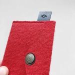 Филцово портмоне /визитник/ с копче - червено 'DEKORA', 10х7см