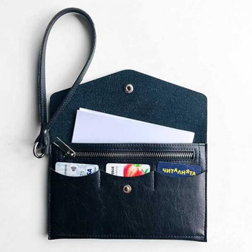 Органайзер за документи с каишка от еко кожа /черен/ 'DEKORA'