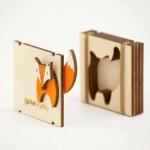 Дървена брошка с магнит 'Лисица' от две части /клип/, изработена на ръка, ДРЪВкулки