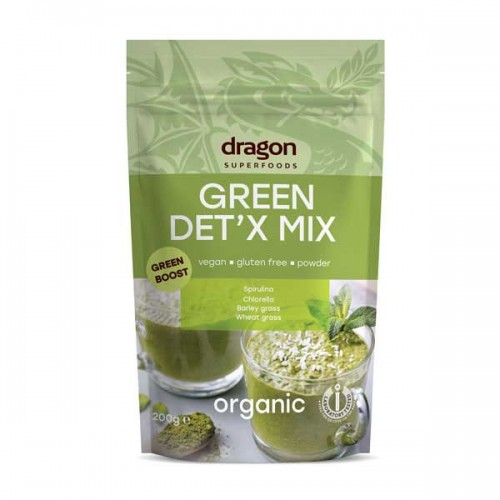 Зелен Детокс - микс от 4 суперхрани на прах - Спирулина, Хлорела, Ечемични стръкове и Пшенични стръкове БИО, 200 гр.