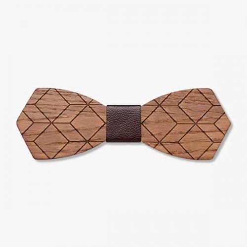 Дървена папийонка модел 'Дилов' с тъмнокафяв кожен възел, изцяло ръчна изработка, ДървАрт