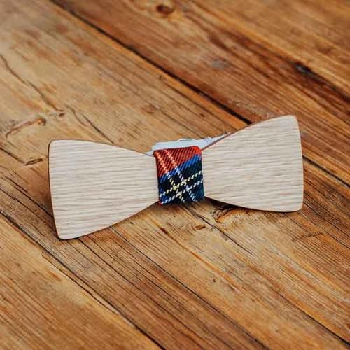 Дървена папийонка модел 'Скоч' с кариран възел, изцяло ръчна изработка, ДървАрт