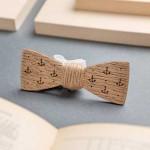 Дървена папийонка модел 'Джак' с гравирани котви и възел от канап, изцяло ръчна изработка, ДървАрт